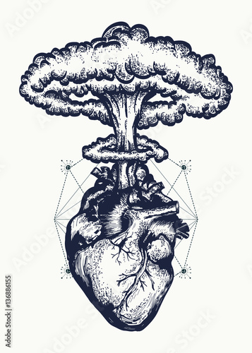 Heart and nuclear explosion tattoo art. Symbol of love