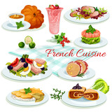 French cuisine popular dishes poster design - 136888734