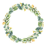 Fototapety Watercolor round wreath with eucalyptus leaves and branches.