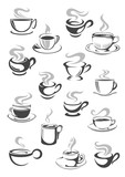 Fototapety Coffee cup and tea mug icon set for drink design