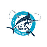 Marlin fishing sport emblem with fish on rod