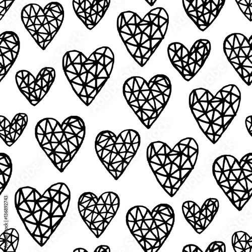 Tapeta Hand Drawn Hearts Pattern