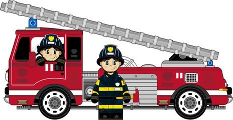 Cute Cartoon Firemen - Firefighters and Fire Truck
