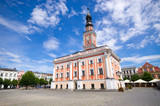 Town hall and square in Leszno, Poland