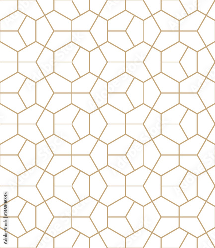 Abstract geometry gold deco art hexagon pattern - 136906345