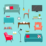 Vector set of furniture of living room - 136906503