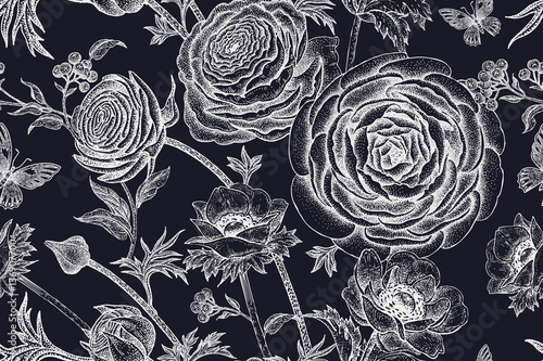 Seamless pattern with spring flowers white on black. - 136907700