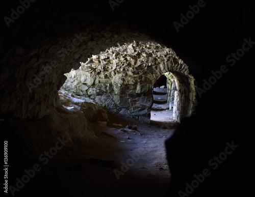 In de dag Dungeons and tunnels in Suomenlinna fortress in Helsinki, Finland