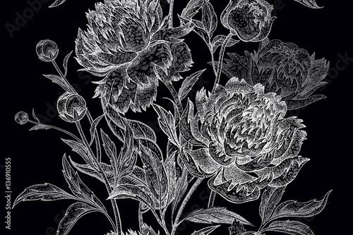 Garden flowers peonies seamless pattern. - 136910555