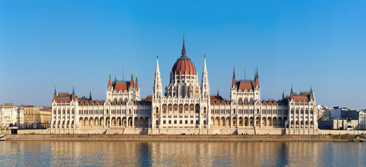The Hungarian Parliament on river Danube in Budapest