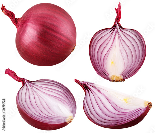Foto Murales bulb red onion set cut isolated on white background