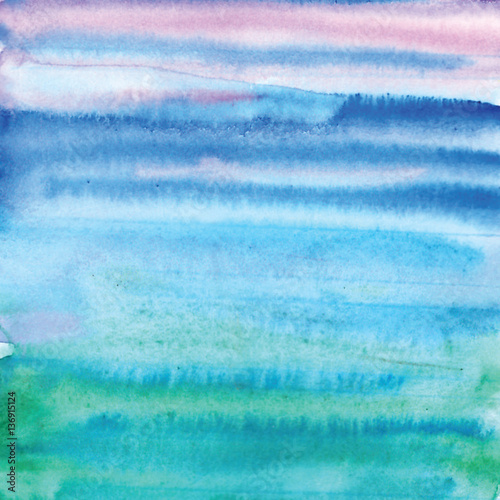 Handmade Painting watercolor blue sea, paper texture - 136915124