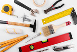 home improvement diy construction tools on white