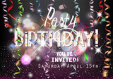 Birthday Party shiny background with hanging serpentine and flying confetti. Vector illustration
