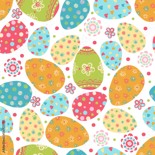 Cotton fabric Easter seamless pattern with eggs.