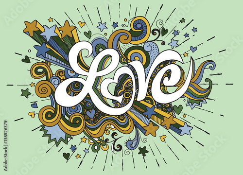 Love hand lettering and doodles elements sketch background.Vecto