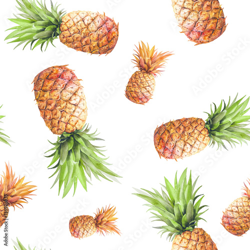 Fototapeta Watercolor pineapples seamless pattern. Hand drawn repeating texture with realistic pineapple on white background. Fashion summer wallpaper design