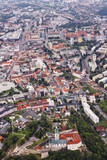 Aerial view of Nitra, Slovakia. Nitra castle in the foreground with city on the background - 136927795