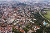 Aerial view of Nitra, Slovakia. Nitra castle in the foreground with city on the background - 136927936