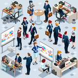 Isometric people isolated office desk meeting staff infographic. 3D Isometric boss person icon set. Creative design vector illustration collection