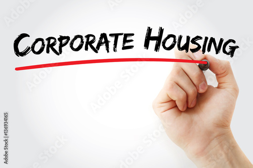 Hand writing corporate housing with marker, concept background Poster
