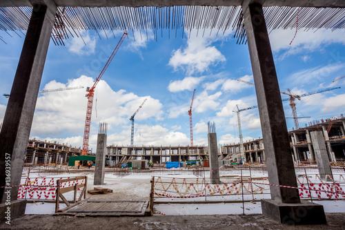 the construction of a football stadium
