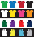 T-shirts and shirts different colors without pattern