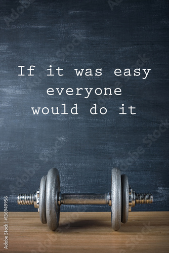 Plakát metal barbell on dark gray background and motivation text