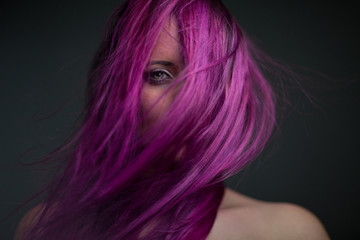 portrait attractive girl with violet hair © zdenek kintr