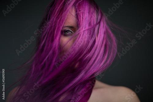 Foto op Aluminium Kapsalon portrait attractive girl with violet hair