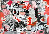 Collage mood board made of old magazine magazines in black, white red colors results in modern art