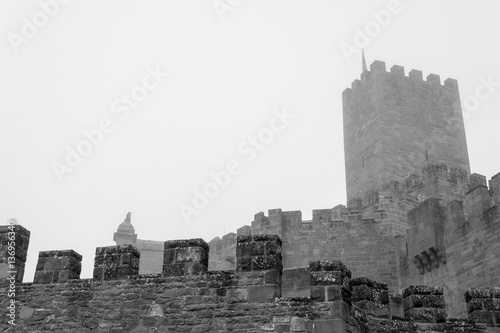 Poster Castle of Xavier on a foggy day (Spain)