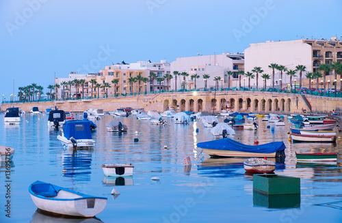 The view of Marsaskala waterfront and Marsascala Bay. Malta