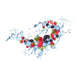 Water splash with strawberry, blackberry and raspberry isolated on white background. Abstract object with fresh fruits berries.