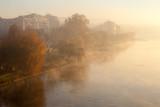 Misty sunrise morning on Ticino river (Sesto Calende, Italy)