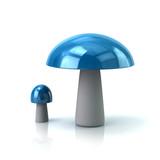Blue mushroom icon 3d illustration