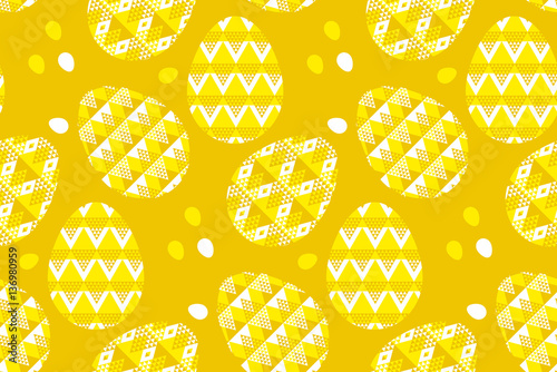 Cotton fabric tribal geometry concept easter egg decoration seamless pattern.