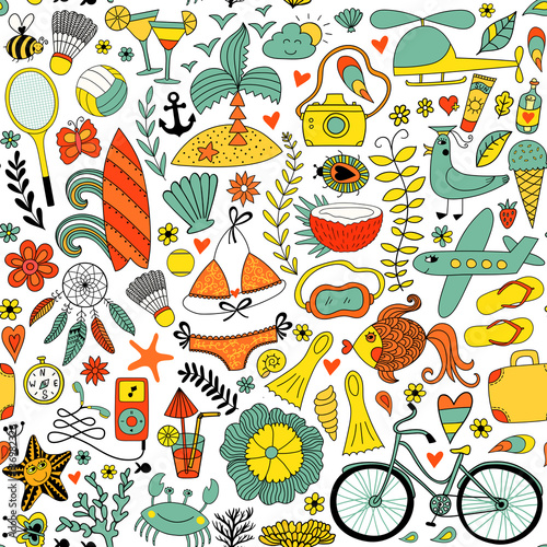 Materiał do szycia Summer vacation set doodle elements, seamless pattern