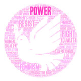 Womens Rights Power Word Cloud on a white background.