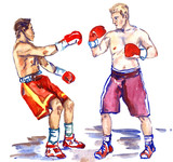 Boxing fight, athlete sends in a knockout his opponent, hand painted watercolor illustration