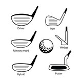 Set of golf club and ball icons graphic design