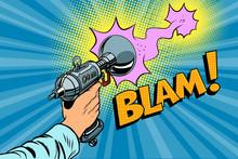 Blam Science Fiction Shot Of A Blaster Comic Cloud Sticker