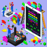 Retro Video game screen and gamer person playing online with console controller android phone or computer. 3D Isometric People icon set. Creative design vector illustration collection