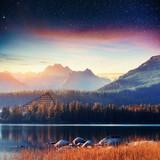 Fantastic Shtrbske Pleso High Tatras. Starry sky. Slovakia