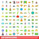 100 earth icons set, cartoon style