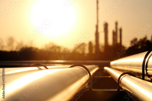 golden steel pipe network in crude oil refinery Poster