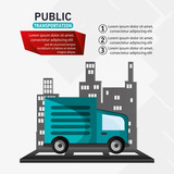 public transport truck delivery infographic vector illustration eps 10