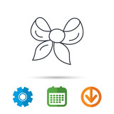 Gift bow icon. Present decoration sign. Ribbon for packaging symbol. Calendar, cogwheel and download arrow signs. Colored flat web icons. Vector