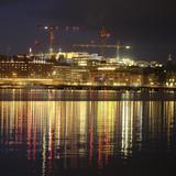 Stockholm, Sweden - March, 16, 2016: night landscape with the image of Stockholm, Sweden