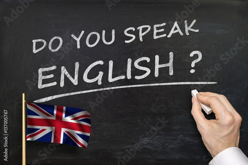 Do You speak English? Text written on blackboard. Poster